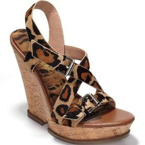 Sam Edelman Leopard/Brown Josie Wedge Heels 9